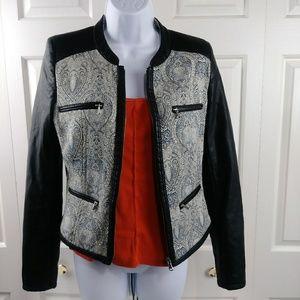 Zara Trafaluc Faux Leather/Fabric Jacket